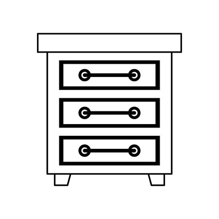 furniture concept drawer cartoon vector illustration graphic design in black and white