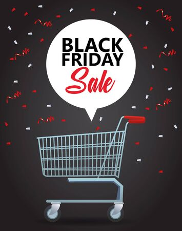 black friday sale poster with shopping cart vector illustration design