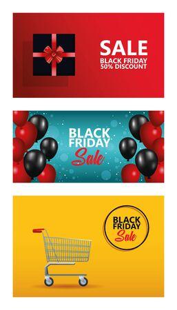 black friday sale bundle of cards vector illustration design
