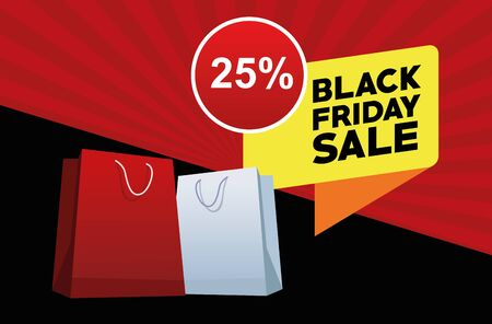 black friday sale poster with shopping bags vector illustration design Illustration