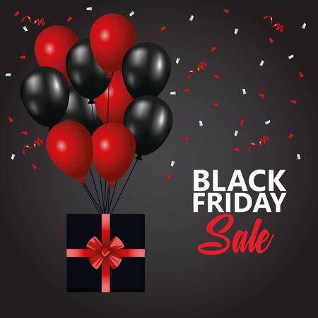 black friday sale poster with balloons helium and gift vector illustration design Illustration