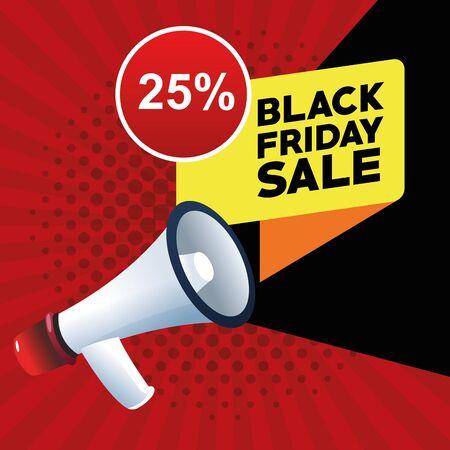 black friday sale poster with megaphone vector illustration design