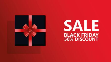 black friday sale poster with gift present vector illustration design