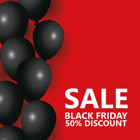 black friday sale poster with balloons helium vector illustration design