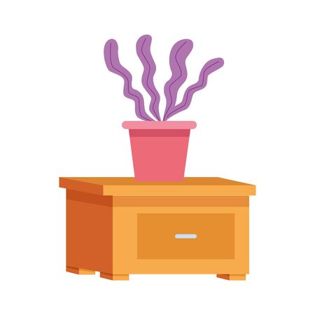 nightstand with decorative plant icon over white background, vector illustration