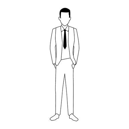 avatar businessman standing icon over white background, vector illustration