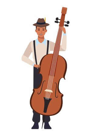 musician playing bass avatar cartoon character vector illustration graphic design