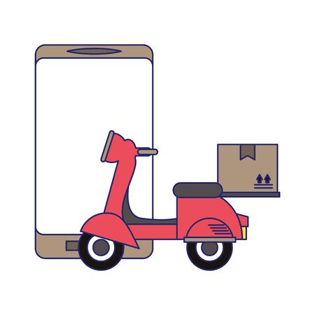 Online delivery service from smartphone scooter with box vector illustration graphic design