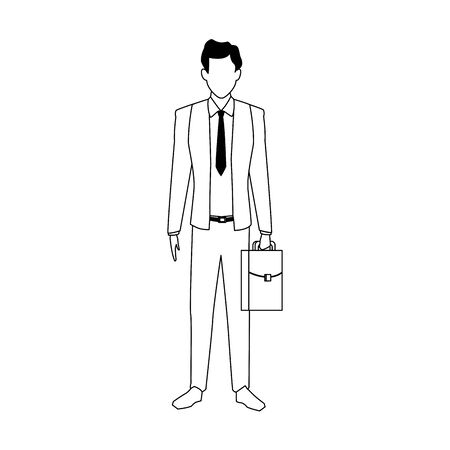 avatar businessman standing and holding a briefcase over white background, vector illustration