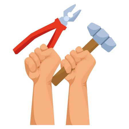Construction workers hands holding plier and mallet tools vector illustration graphic design. 일러스트