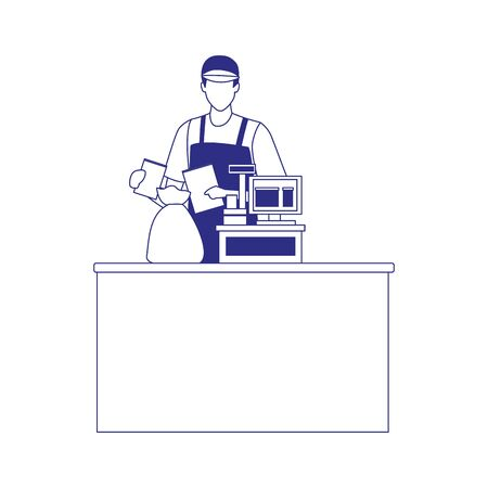 man cashier in the cash with bags icon over white background, vector illustration