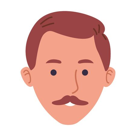 cartoon man with mustache icon over white background, vector illustration