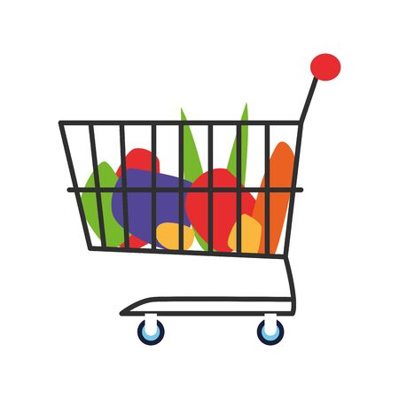 supermarket cart with groceries over white background, vector illustration