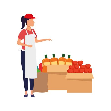 supermarket woman worker next to boxes with groceries over white background, colorful design. vector illustration Ilustração