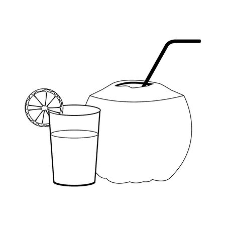orange juice and coconut drink with straw over white background, vector illustration