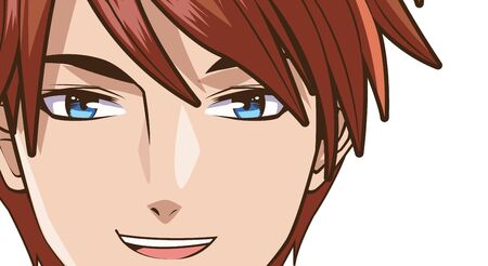 face young man anime style character vector illustration design  イラスト・ベクター素材