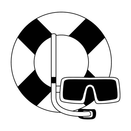 lifeguard float and snorkel mask icon over white background, vector illustration