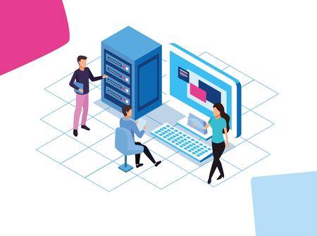 big data technology with laptop and desktop vector illustration design