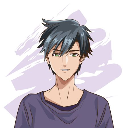 young man anime style character vector illustration design  イラスト・ベクター素材