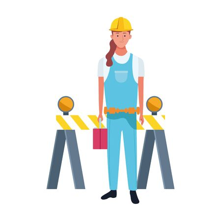 cartoon repair woman worker and traffic barrier over white background, vector illustration