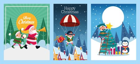 bundle of merry christmas cards vector illustration design Vektorgrafik
