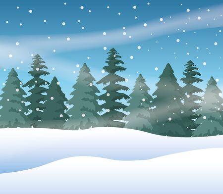 disegno dell'illustrazione di vettore dell'icona della natura della scena del paesaggio innevato della foresta