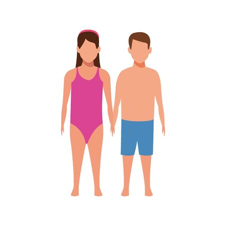 avatar boy and girl wearing swimsuit icon over white background, vector illustration