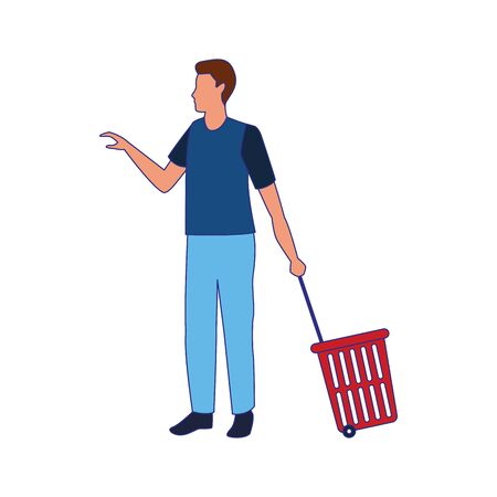 avatar man with Rolling Shopping Basket over white background, vector illustration