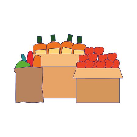 boxes with vegetables and supermarket groceries over white background, vector illustration