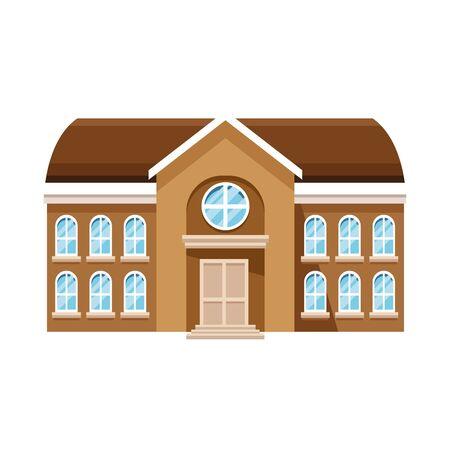 Icono de edificio escolar sobre fondo blanco, ilustración vectorial