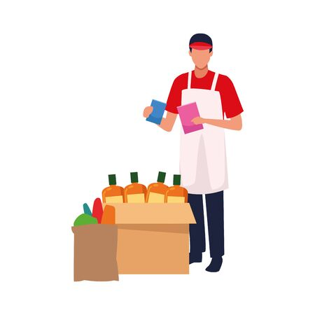 avatar supermarket worker with groceries box icon over white background, vector illustration