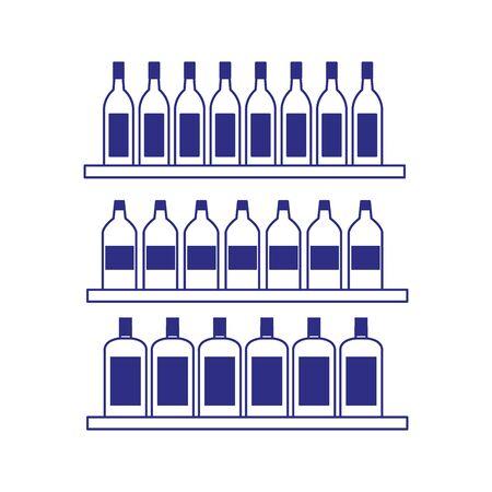 shelves with bottles icon over white background, vector illustration