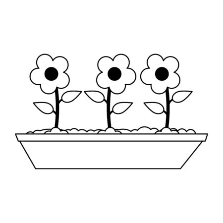 Flowers in ground cartoon Design