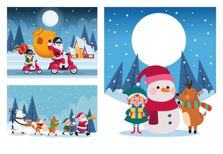bundle of merry christmas cards vector illustration design Vektoros illusztráció