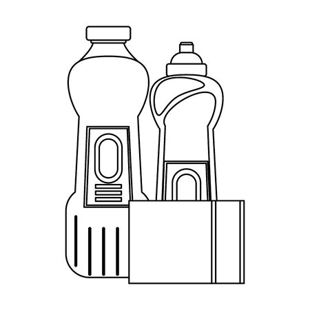 Cleaning equipment and products soap bottles and toilet sponge vector illustration graphic design.