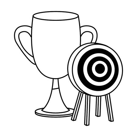 Office elements and business symbols trophy cup and target dartboard ,vector illustration graphic design. Illustration