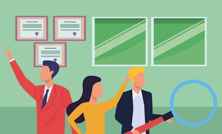 Group of business partners with business and symbols, executive entrepreneur teamwork inside office building scenery ,vector illustration graphic design.