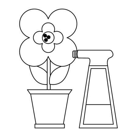 Gardening plants and tools flower in pot with water spray bottle Design