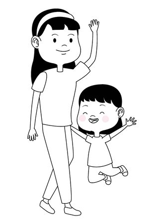Family single mother playing and smiling with daughter cartoon ,vector illustration graphic design. Stockfoto - 134121512
