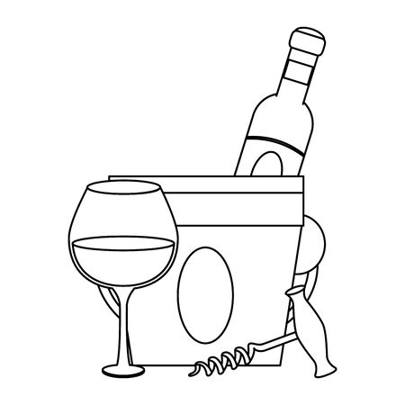 corkscrew an ice bucket with wine bottle and glass over white background, vector illustration