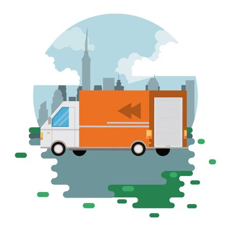 transportation merchandise logistic cargo truck van making delivery at distributon city route round icon cartoon vector illustration graphic design