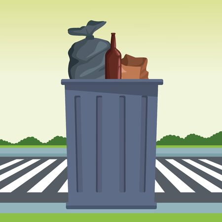 trash garbage can, garbage bag, glass bottle and paper bag icon cartoon outdoor next to the street and some shruberry in the horizon vector illustration graphic design