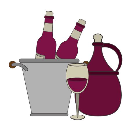 ice bucket with wine bottles and jar over white background, vector illustration