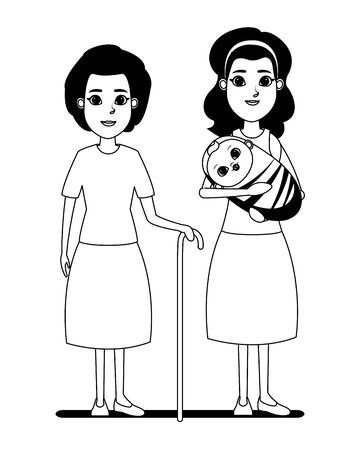 family avatar mother with bandana holding a baby and grandmother with cane profile picture cartoon character portrait in black and white vector illustration graphic design