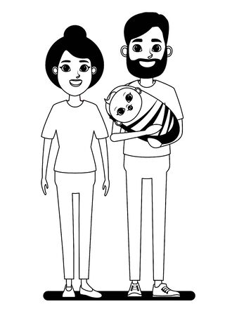 family avatar father with beard holding a baby and grandmother with bun profile picture cartoon character portrait in black and white vector illustration graphic design