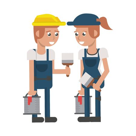 Construction workers with paint buckets and brushes vector illustration graphic design