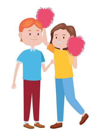 young couple characters playing cheerleader vector illustration design Illustration