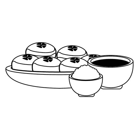 tea cup and bowl with mooncakes over white background, black and white design. vector illustration Çizim