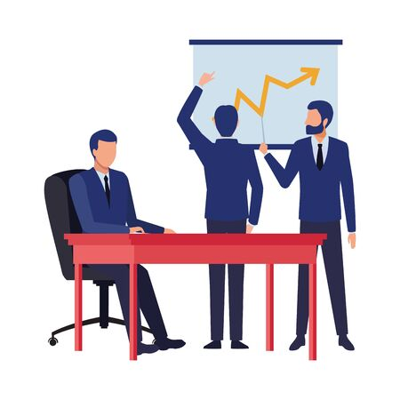 business people businessman wearing beard and using a wand pointing a data chart, businessman back view pointing a data chart and businessman sitting on a desk avatar cartoon character vector illustration graphic design Ilustracja