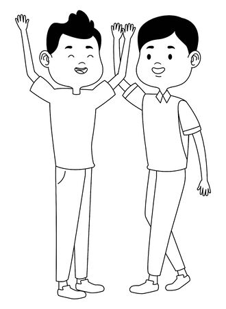 Teenagers male friends greeting and smiling with casual clothes cartoons ,vector illustration graphic design. 일러스트